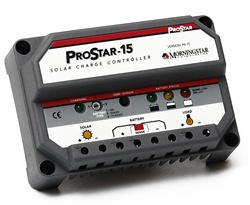 Morningstar ProStar 15 Amp 48 Volt PWM Charge Controller - Includes Digital Display, Positive Ground - PS-15M-48V-PG