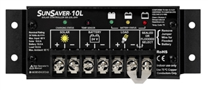 MorningStar SunSaver 10 Amp 24 Volt PWM Charge Controller - LVD Override Protection - SS-10L-24V