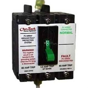 OutBack Power 80 Amp 150 VDC Dual Pole Panel Mount Ground Fault Detector Interruptor - PNL-GFDI-80D