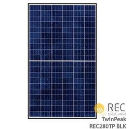 REC TwinPeak REC280TP Solar Panel > 280 Watt BLACK FRAME Solar Panel