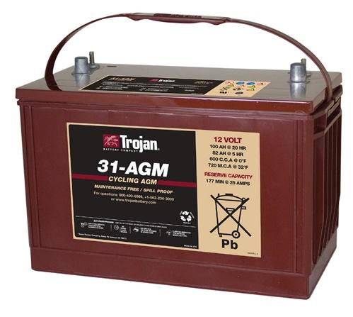 Trojan Battery 31 Agm 12 Volt 100 Amp Hour Agm Deep