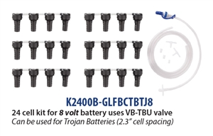 Battery Watering Technologies K2400B-GLFBCTBTJ8 > 24 Cell Battery Watering Kit for 8 Volt Trojan Batteries