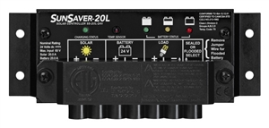 MorningStar SS-20L-24V - SunSaver 20 Amp 24 Volt PWM Charge Controller - Includes LVD Override Protection