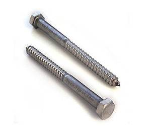 SnapNrack 014-06502 > 5/16 inch x 5 inch Stainless Steel Lag Bolt & Washer - 12 Pack