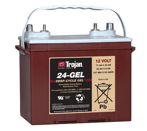 trojan battery 24 gel 12 volt 77 amp hour gel battery. Black Bedroom Furniture Sets. Home Design Ideas