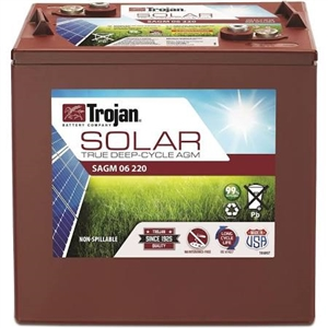 Trojan Battery SAGM 06 220 > 6 Volt 220 Amp Hour Solar AGM Battery